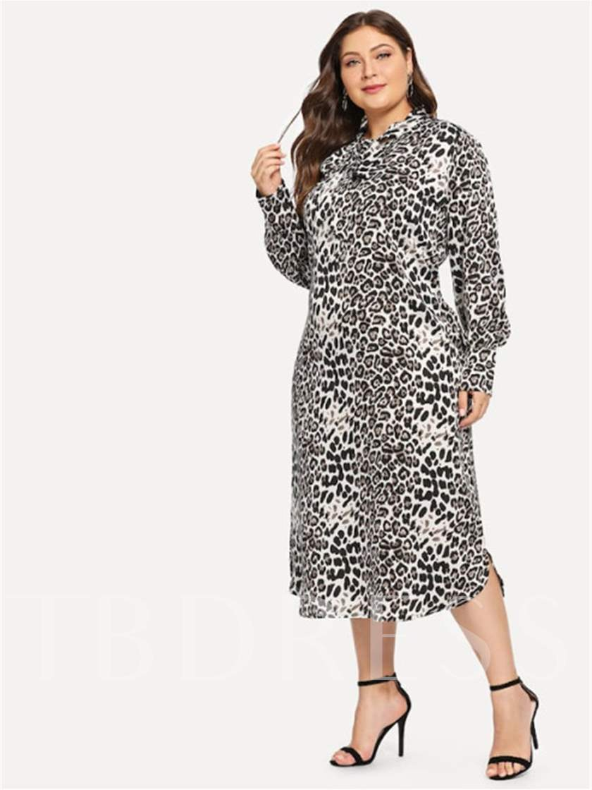 Plus Size Leopard A-Line Women's Long Sleeve Dress