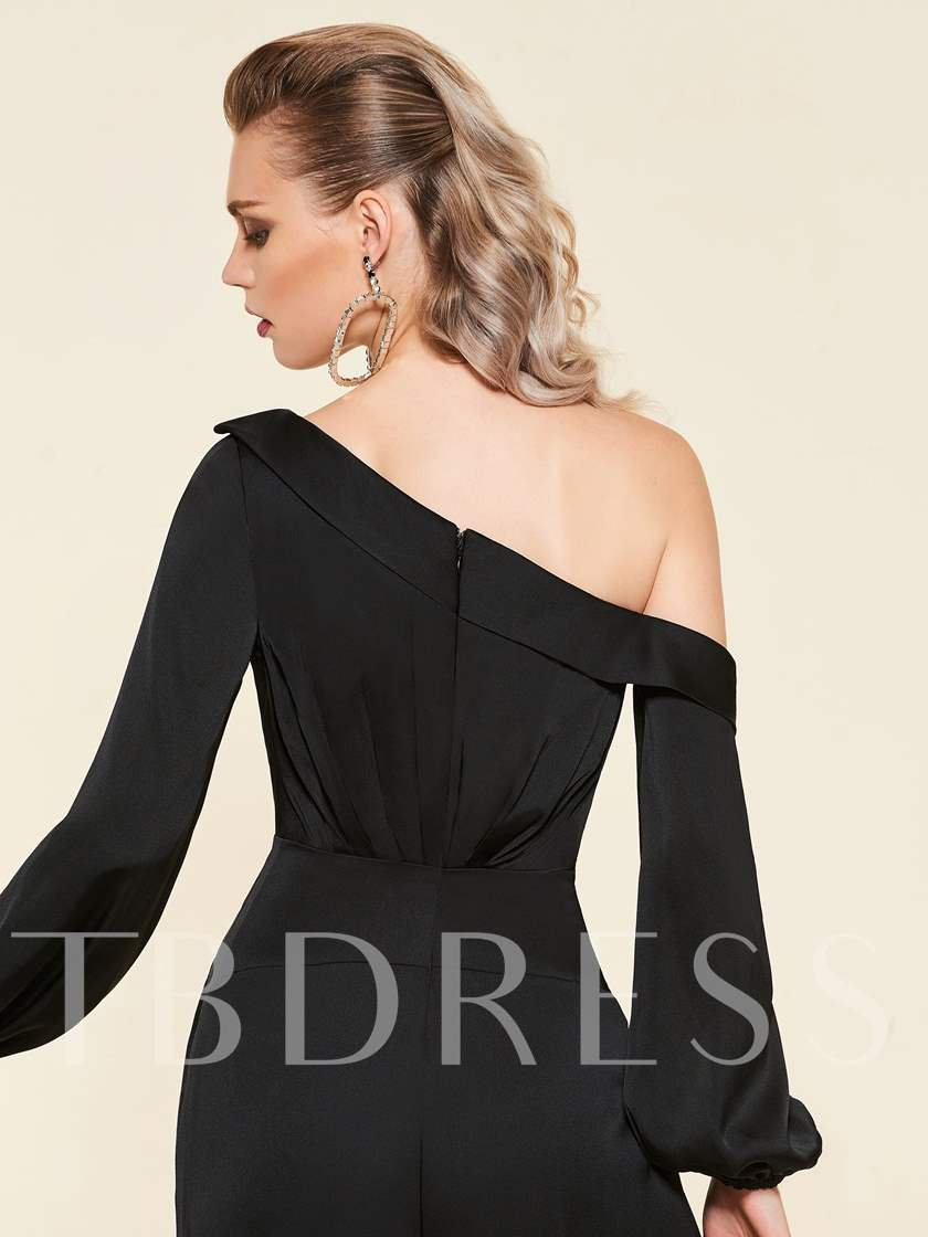 Floor-Length Long Sleeves One-Shoulder Evening Jumpsuits 2019