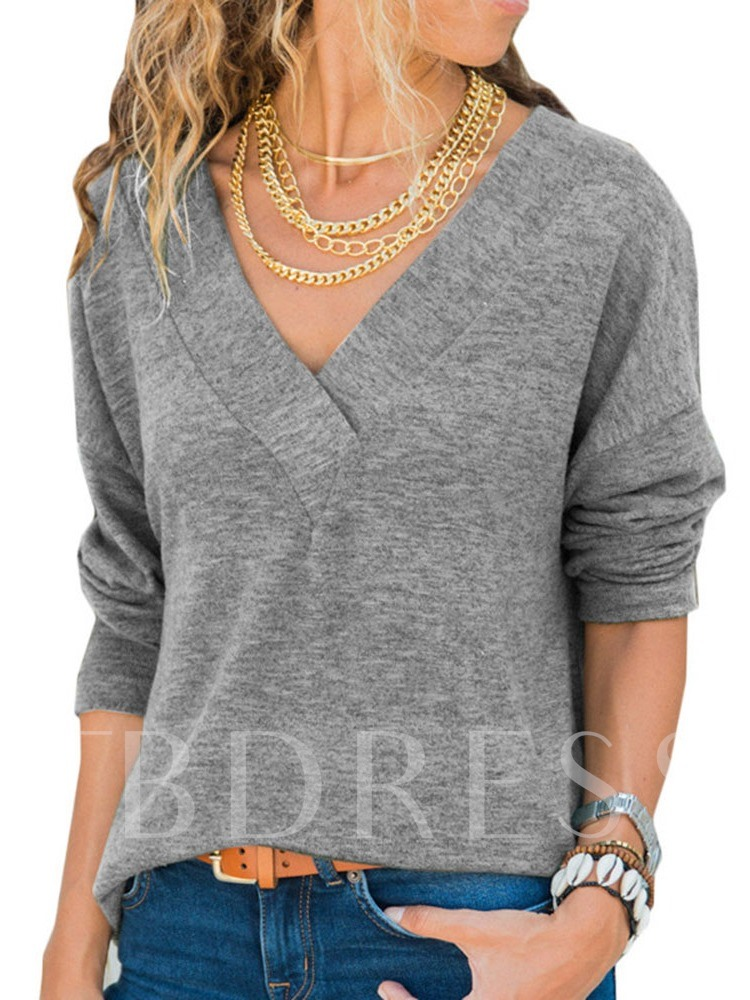 Plain Long Sleeve Standard V-Neck Spring Women's T-Shirt