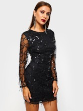 Round Neck Long Sleeve Sequins Mesh Women's Lace Dress