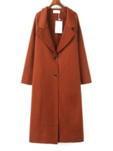 Notched Lapel Single-Breasted Plain Women's Overcoat