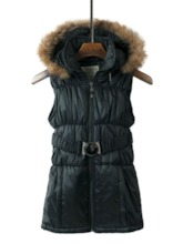 Zipper Detachable Faux Fur Hooded Women's Vest
