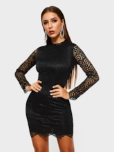 Stand Collar Hollow Long Sleeve Women's Lace Dress