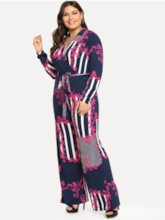 Plus Size Floral Print Casual Wide Legs Women's Jumpsuits