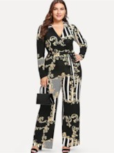 Plus Size Floral Print Casual Wide Legs Women's Jumpsuit