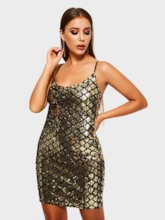 Sequins Sleeveless Bodycon Plaid Women's Party Dress