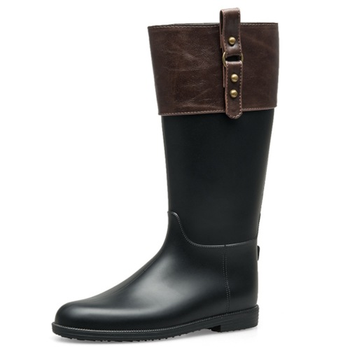 Color Block Round Toe Block Heel Slip-On Casual Hunter Boots