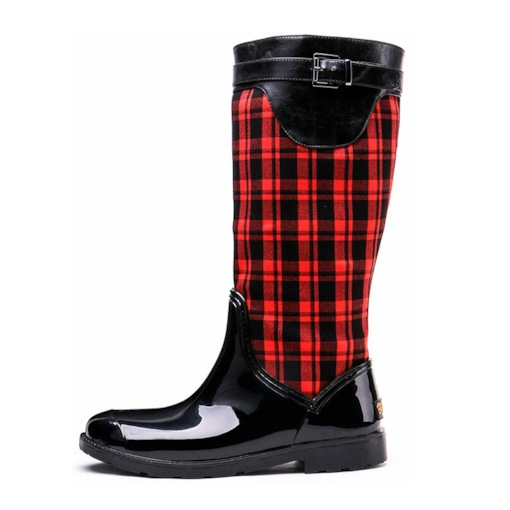 Round Toe Block Heel Side Zipper Plaid Buckle Knee High Hunter Boots