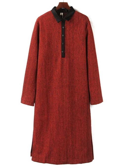 Lapel Split Fall Button Women's Long Sleeve Dress