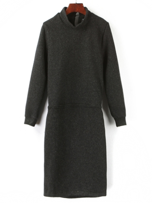 Turtleneck Pullover Plain Women's Long Sleeve Dress