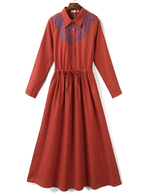Lapel Long Sleeve Lace-Up Vintage Women's Maxi Dress