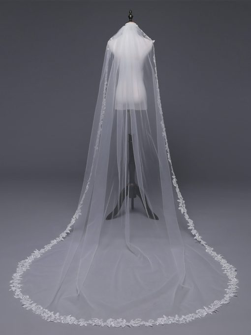 One-Layer Appliques Applique Edge Wedding Veil