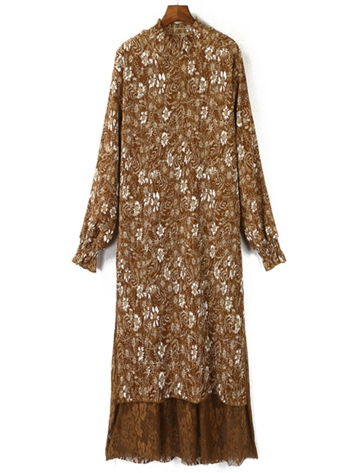 Long Sleeve Floral Print Stand Collar Women's Maxi Dress