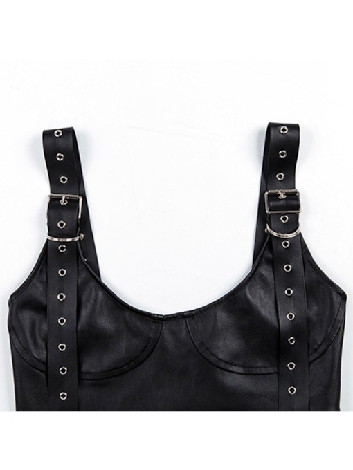 Plain Patent Leather Cotton Sleeveless Sexy Vest for Women