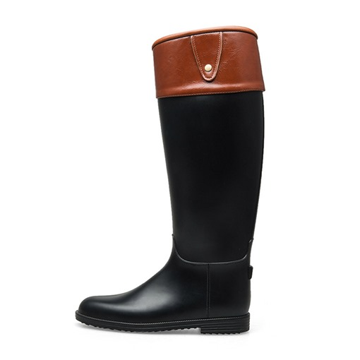 Slip-On Round Toe Color Block Block Heel Knee High Hunter Boots