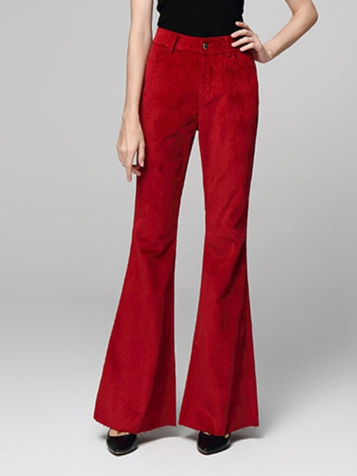 Button Loose Full Length Bellbottoms Women's Casual Pants