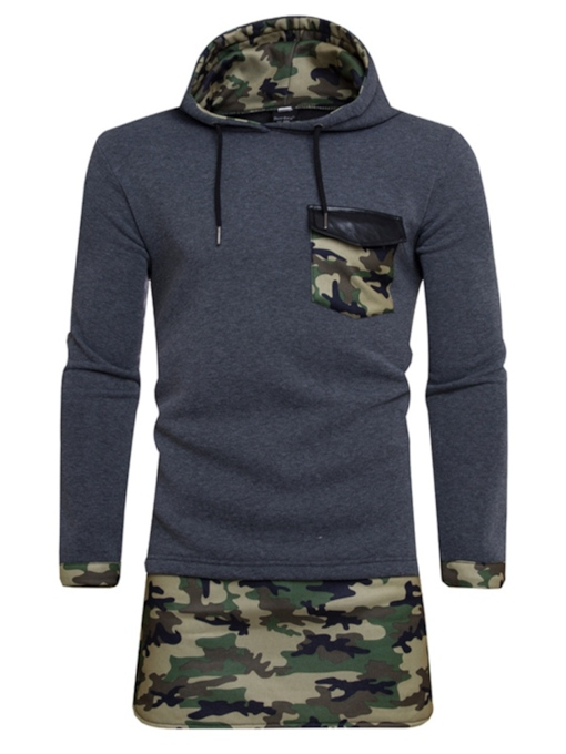 Pullover Camouflage Patchwork Mid-Length Men's Hoodie