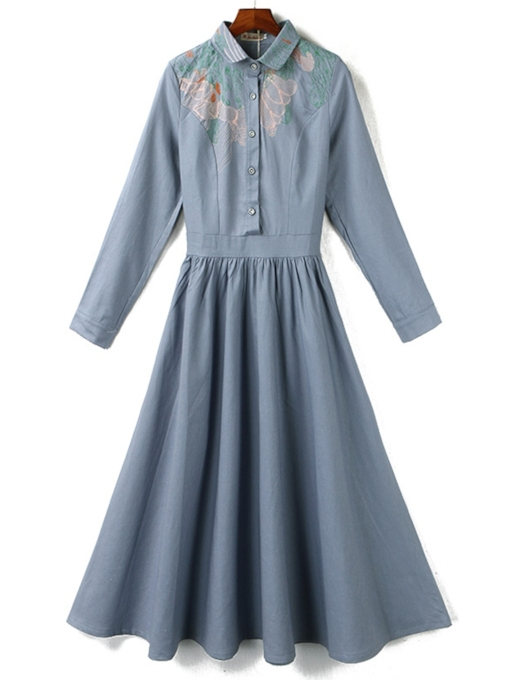 Button Long Sleeve Lapel Vintage Women's Maxi Dress
