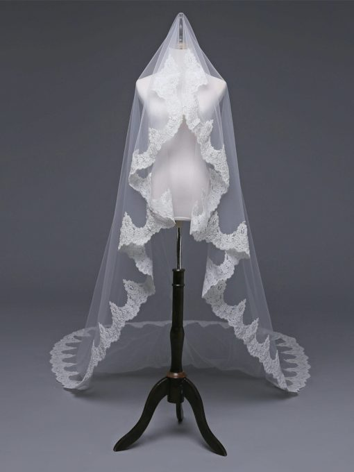 Bead One-Layer Cathedral Applique Edge Wedding Veil