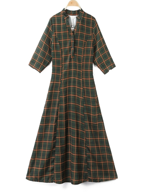 V-Neck Half Sleeve Vintage Plaid Women's Maxi Dress