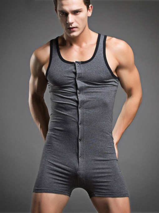 Button Plain Sleeveless Cotton Bodysuit for Men