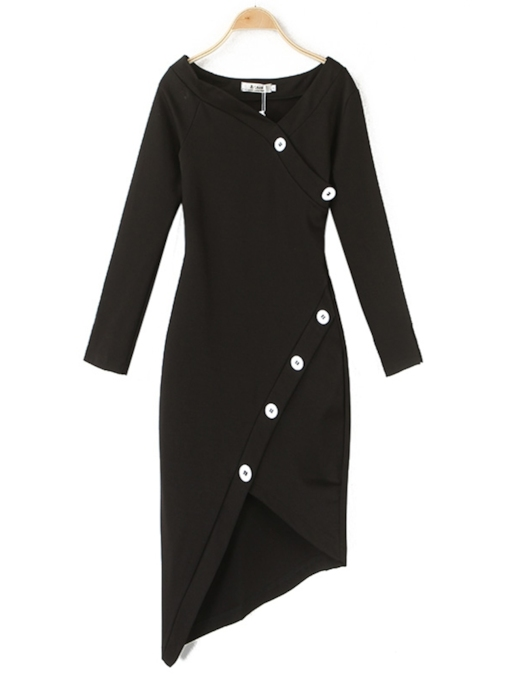 Oblique Collar Button Winter Women's Long Sleeve Dress