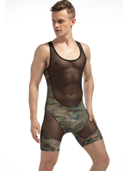 Camouflage Patchwork Sleeveless Bodysuit for Men