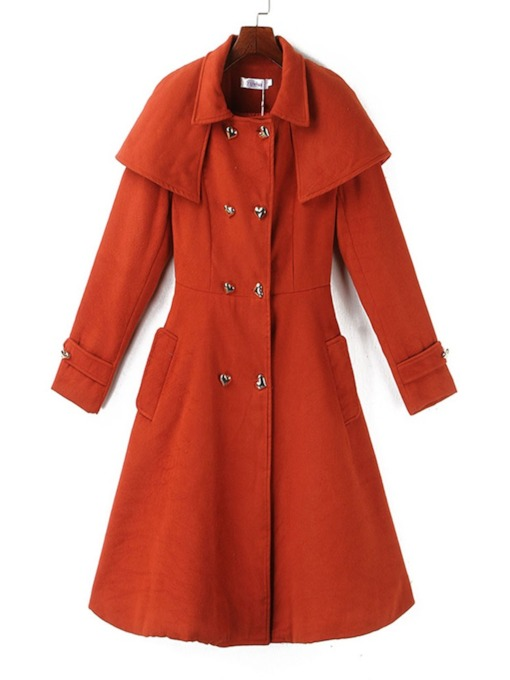 Double-Breasted A Line Mid-Length Women's Overcoat