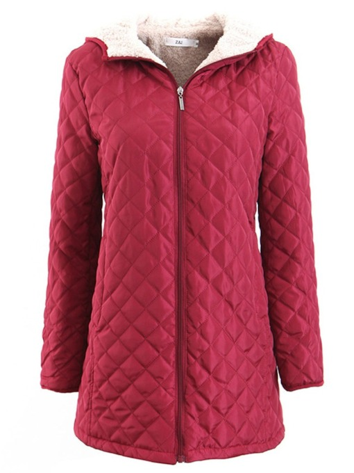 Thick Zipper Slim Mid-Length Women's Cotton Padded Jacket