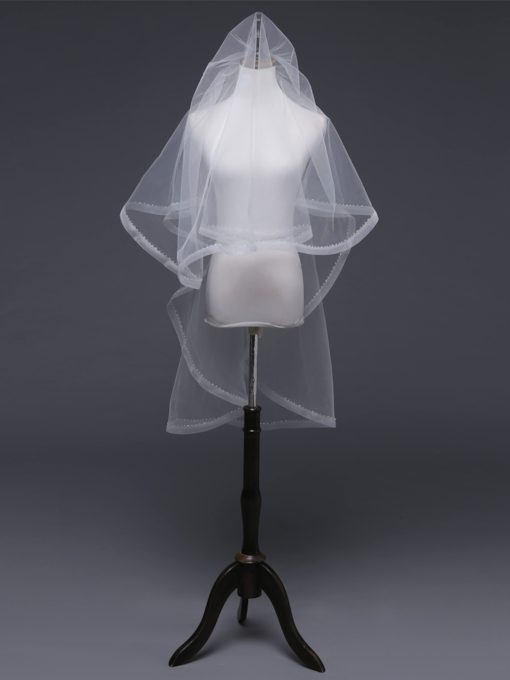 One-Layer Bead Pencil Edge Wedding Veil