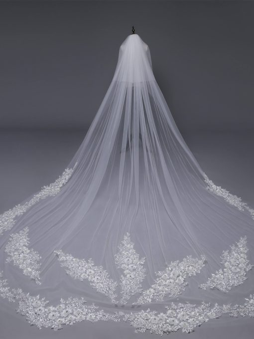 Applique Edge Two-Layer Royal Wedding Veil