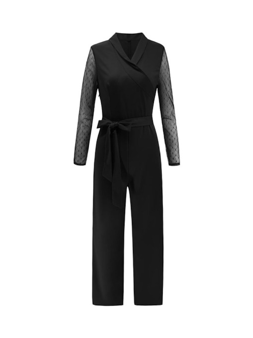 Plain Elegant Full Length Straight Women's Jumpsuits