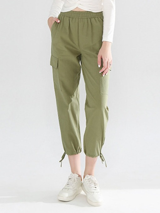 Pocket Plain Loose Mid-Calf Women's Casual Pants