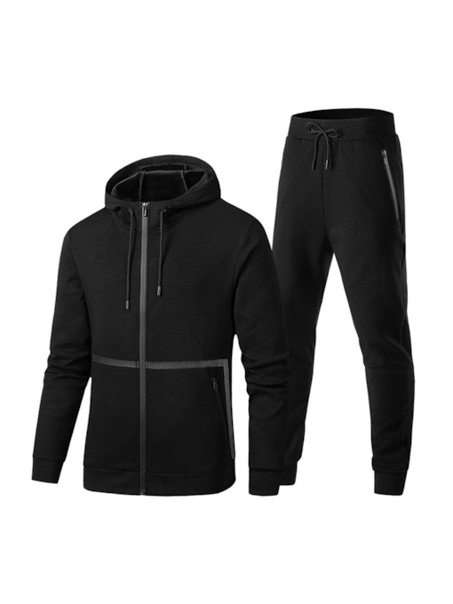 Hooded Jacket & Lace-up Pants Men's Sports Suit