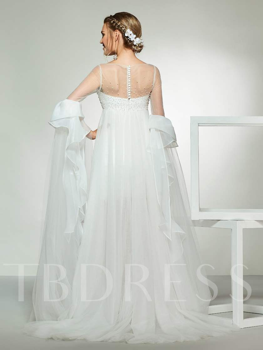 Column Beading Short Wedding Dress with Sleeves