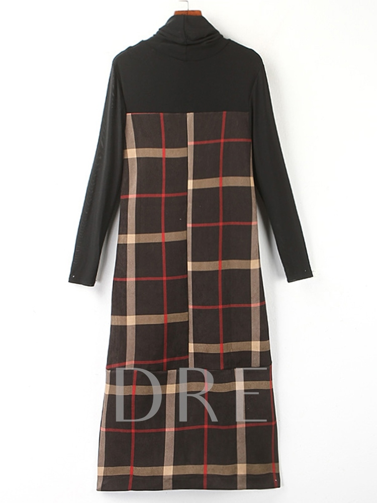 Turtleneck Patchwork Long Sleeve Plaid Women's Maxi Dress