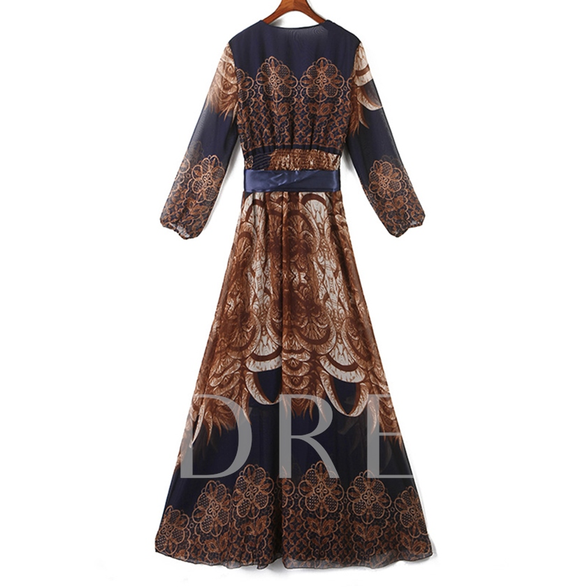 Round Neck Long Sleeve Prints Women's Maxi Dress