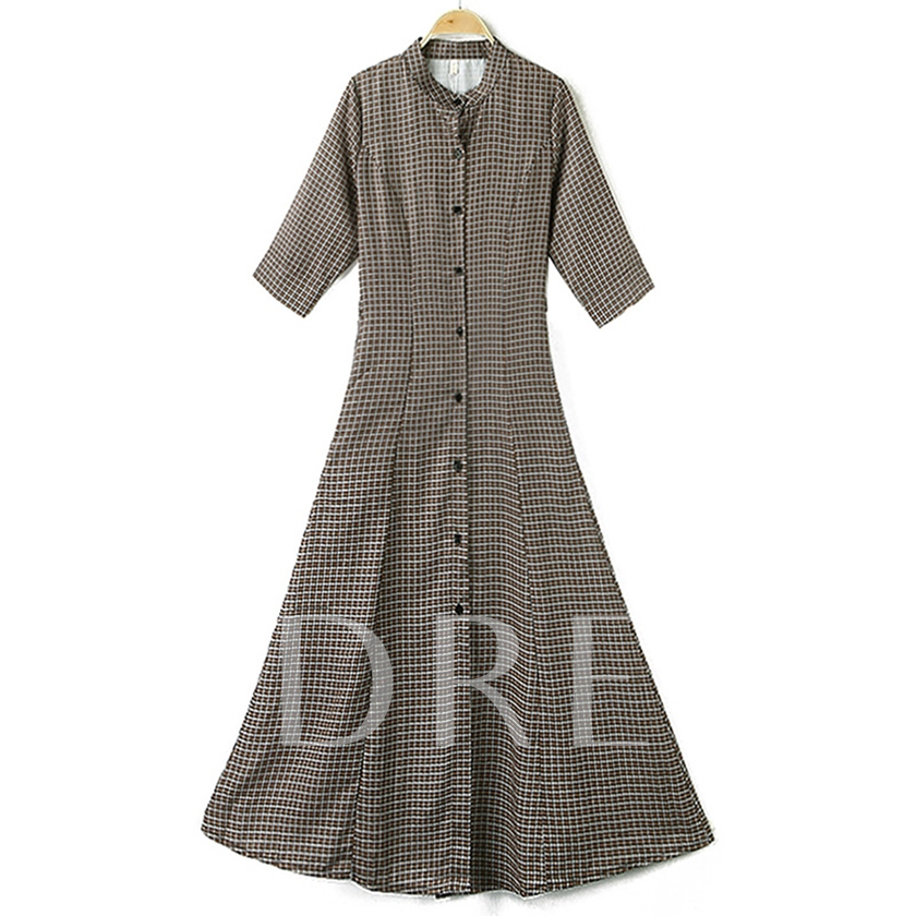 Half Sleeve Stand Collar Button Summer Women's Maxi Dress