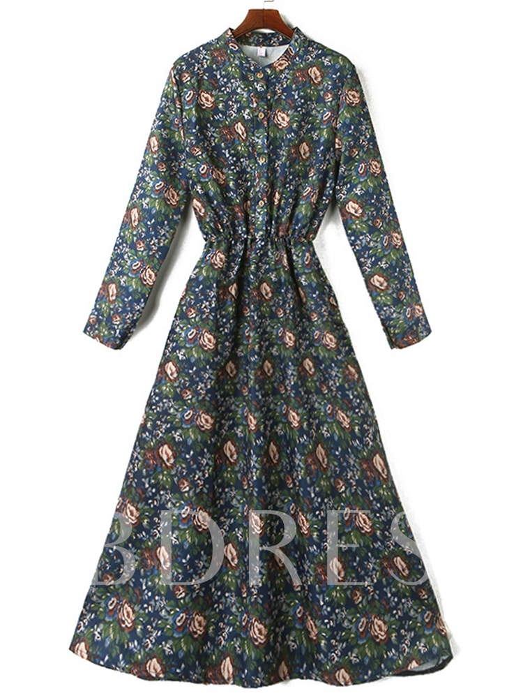 Stand Collar Print Long Sleeve Floral Women's Maxi Dress