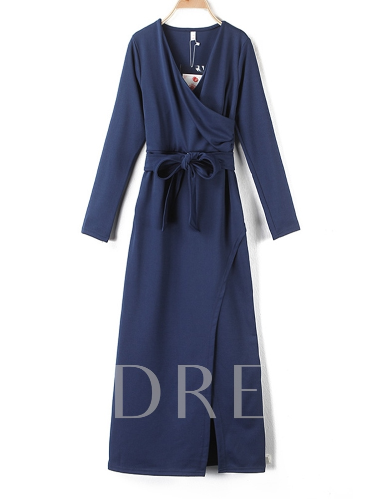 V-Neck Long Sleeve Bowknot Women's Maxi Dress