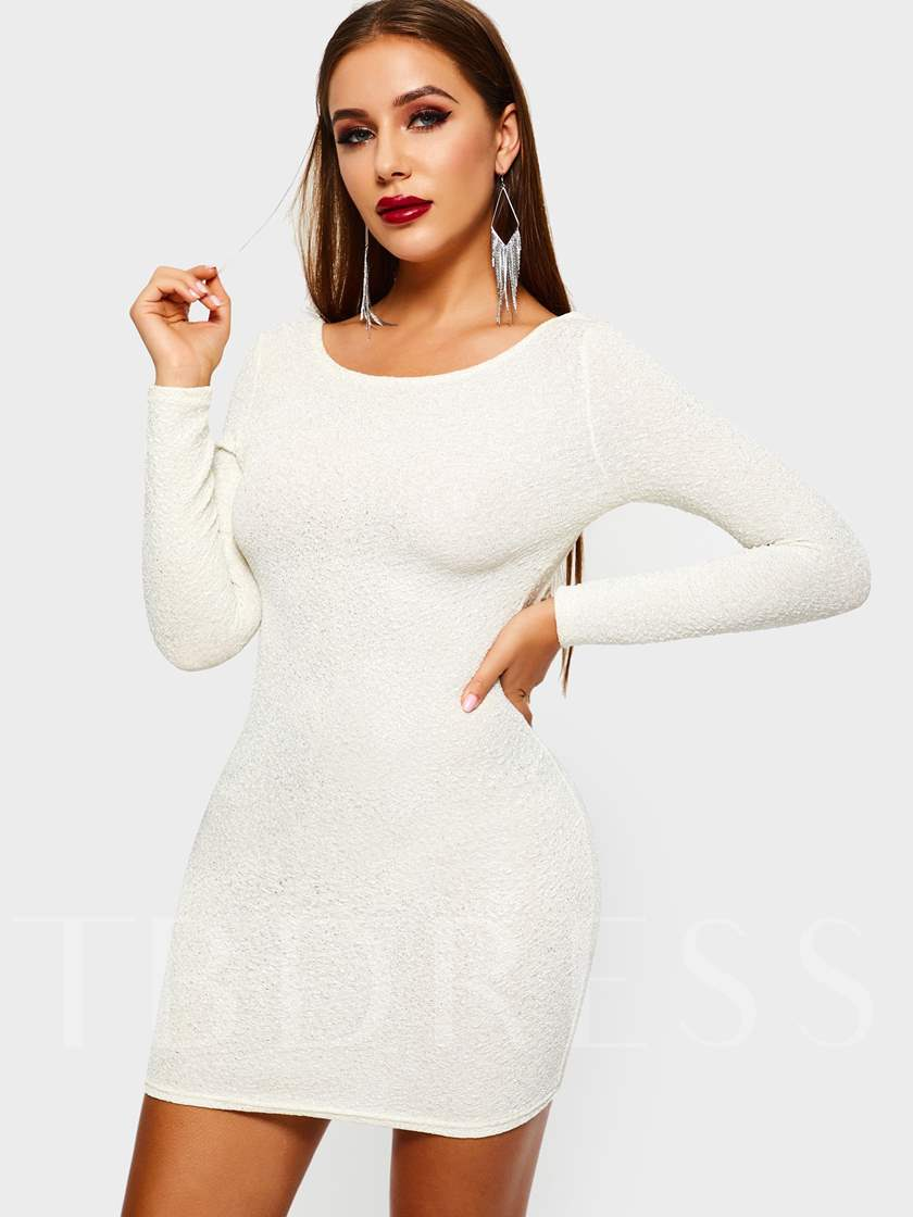Sequins Long Sleeve Sexy Women's Open Back Dress