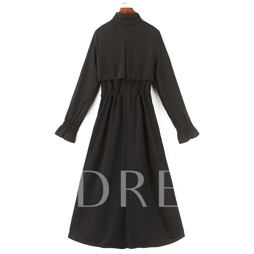 Lace-Up Lapel Long Sleeve Casual Women's Maxi Dress