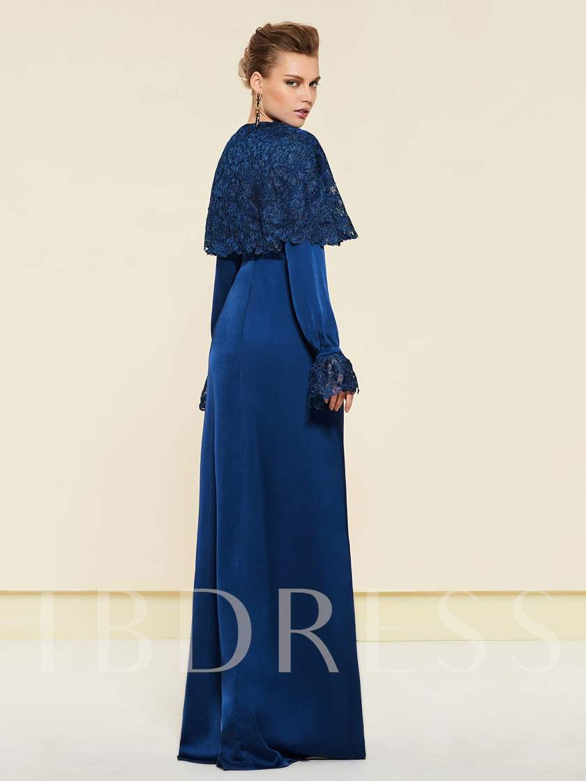 Button Long Sleeve Mother of the Bride Dress with Lace Cape