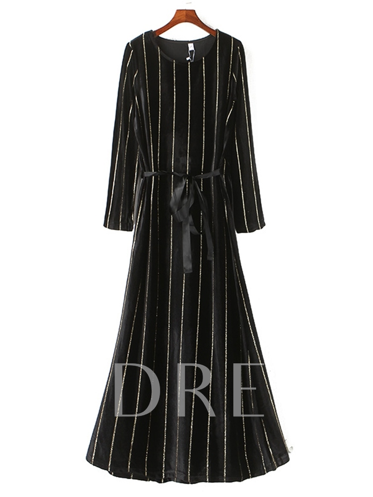 Long Sleeve Lace-Up Round Neck Pullover Women's Maxi Dress