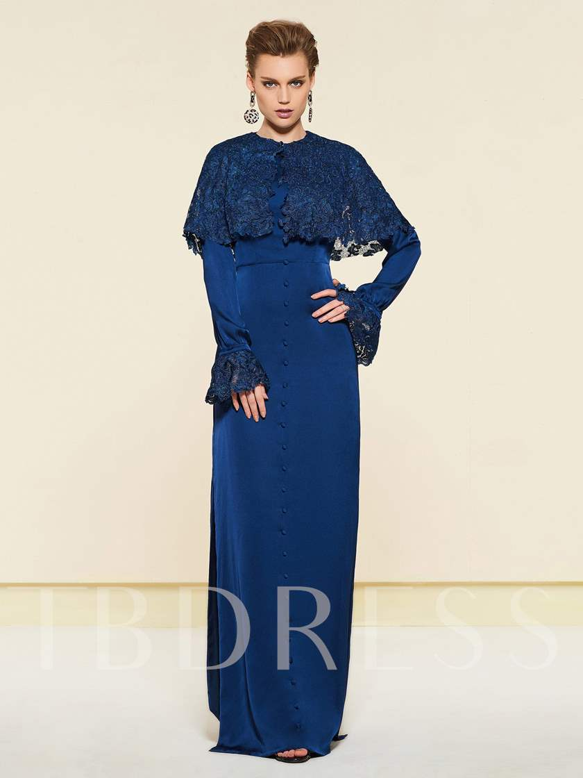 Button Long Sleeve Mother Dress with Lace Jacket