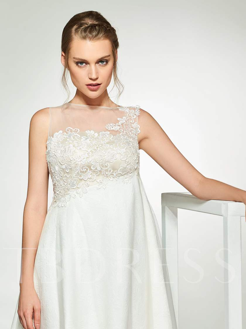 Lace Appliques High Low Beach Wedding Dress 2019