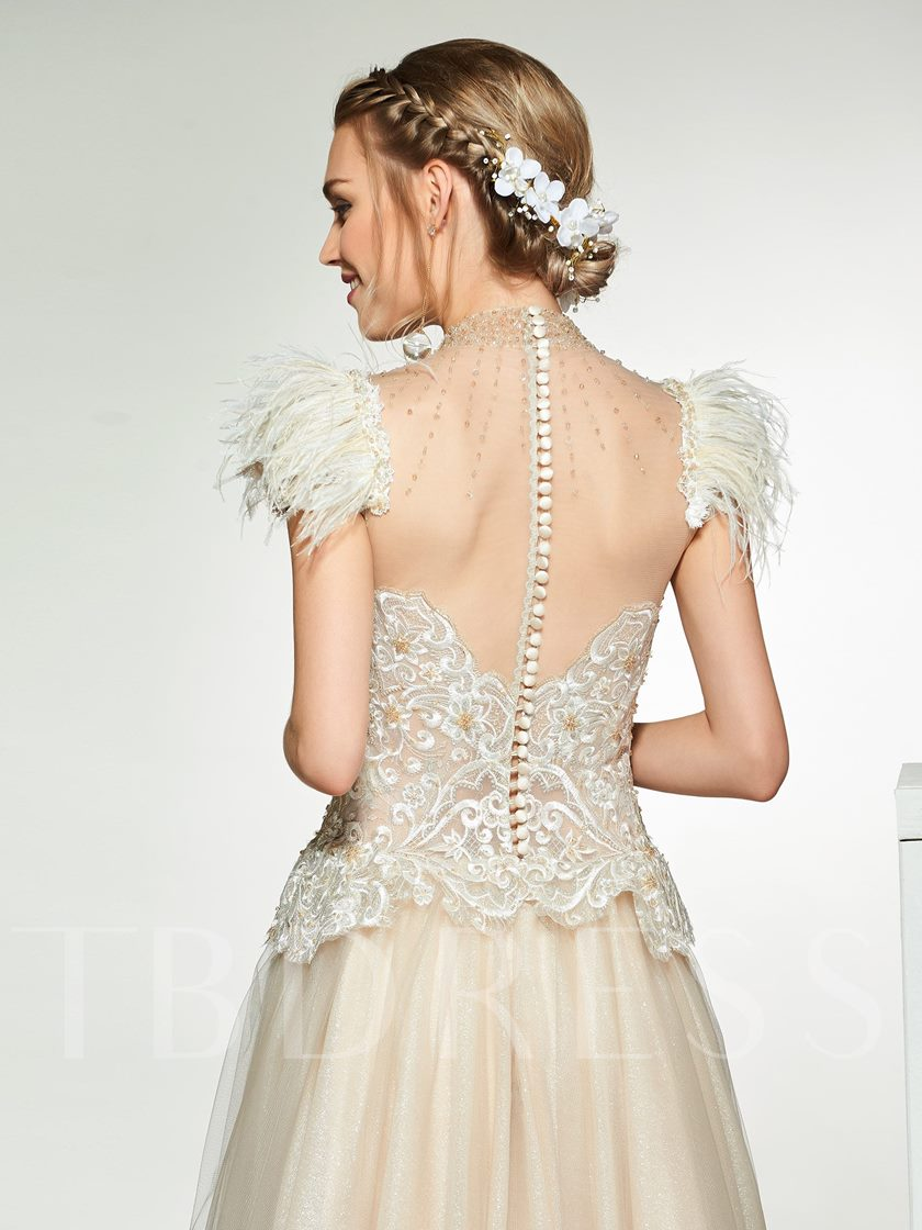 Beading High Neck Embroidery Lace Wedding Dress 2019
