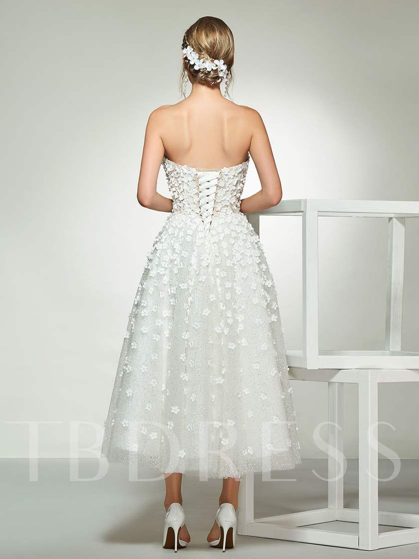 Sweetheart Flowers Tea-Length Wedding Dress