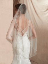One-Layer Beading Elbow Wedding Veil