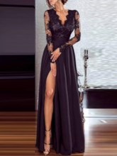 Lace Long Sleeve V-Neck Pullover Women's Maxi Dress